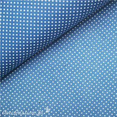 Papier népalais lokta bleu à pois blanc