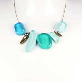 Collier fantaisie Nathalie Borderie 5 médaillon verre bleu -