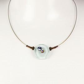 Collier fantaisie Nathalie Borderie 1 médaillon verre bleu clair -