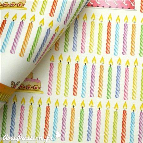 Papier tassotti motifs bougies anniversaire