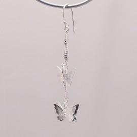 Boucles d'oreilles papillon en argent 925 oreilles percées -