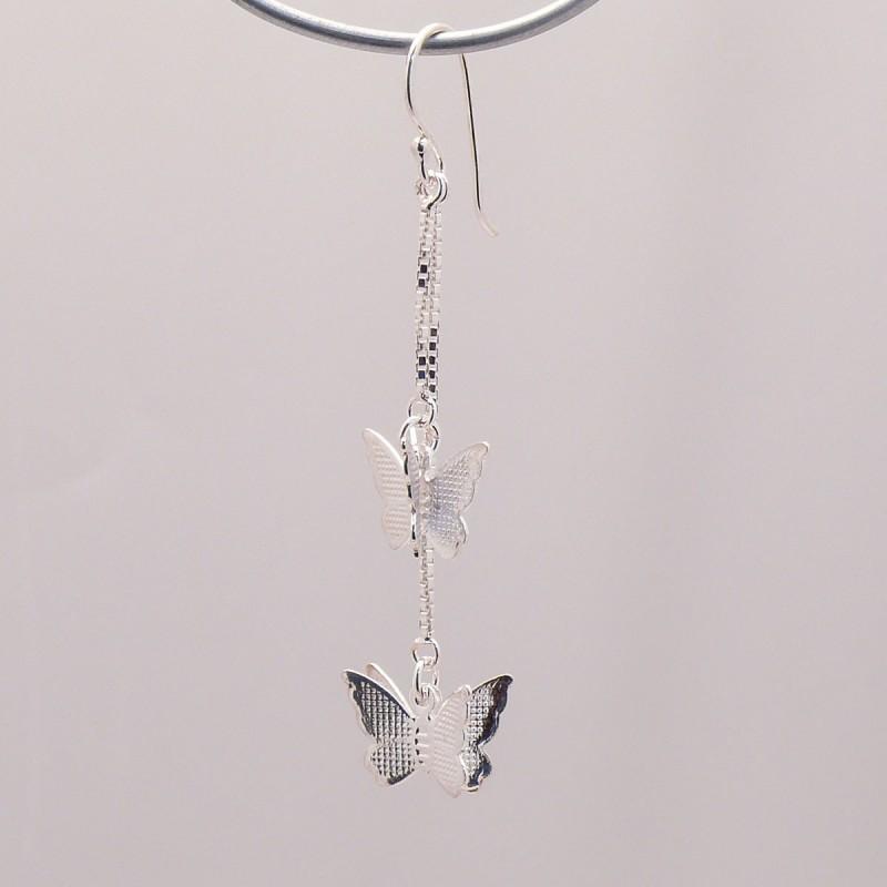 boucles d 39 oreilles papillon argent 925 oreilles perc es. Black Bedroom Furniture Sets. Home Design Ideas