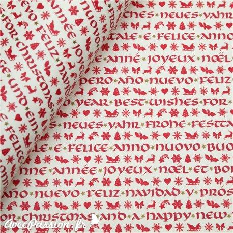 Papier tassotti motifs rouge écritures de noël