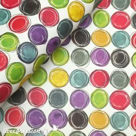 Papier tassotti motifs pastilles multicolores