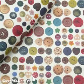 Papier tassotti motifs boutons multicolores