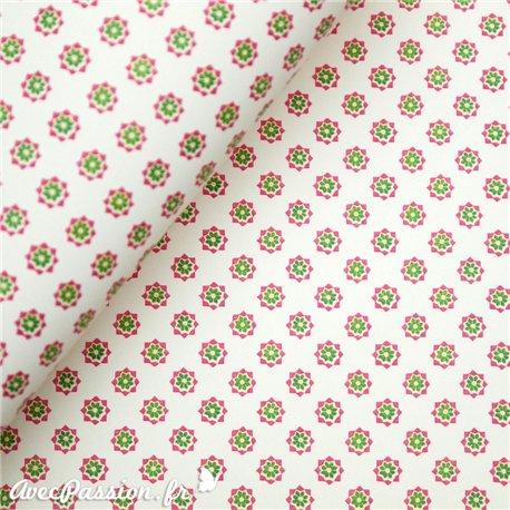 Papier tassotti motifs petites fleurs rose et vert