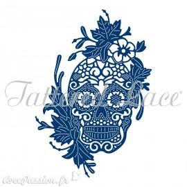 Dies découpe gaufrage matrice Tattered Lace tête de mort fleurie