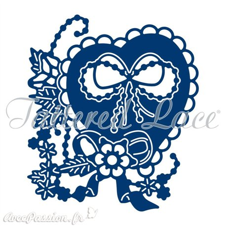 Dies découpe gaufrage matrice Tattered Lace coeur fleuri