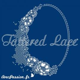 Dies découpe gaufrage matrice Tattered Lace cadre ovale anémones