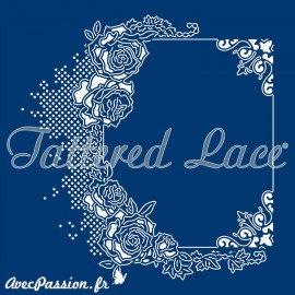 Dies découpe gaufrage matrice Tattered Lace cadre rectangle roses