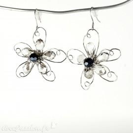 Boucles d'oreilles Cheny's oreilles percées fleurs argent perles facettes grises et noires