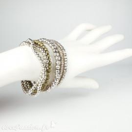 Bracelet Cheny's argent composé de 7 bracelets élastiques