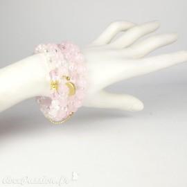Bracelet Cheny's multi-rangs perles roses et bijoux dorés