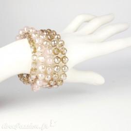 Bracelet Cheny's multi-rangs perles marrons irrisées