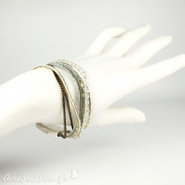 Bracelet Cheny's aimanté multi-rangs bohème chic bleu turquoise, doré et marron - attache en métal argent