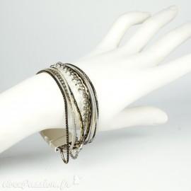 Bracelet Cheny's aimanté multi-rangs bohème chic argent, noir et doré - attache en métal argent
