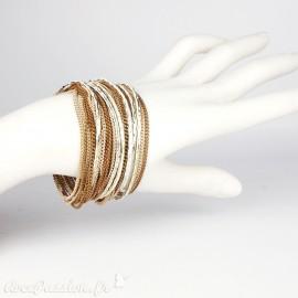 Bracelet Cheny's multi-rangs bohème chic doré et marron - attache réglable en métal doré