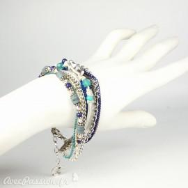 Bracelet Cheny's multi-rangs bohème chic argent et bleu - attache réglable en métal argent