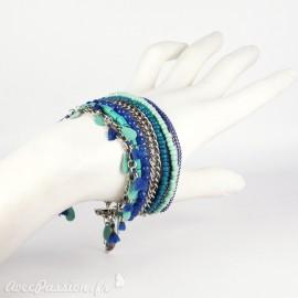 Bracelet Cheny's multi-rangs bohème chic bleu - attache réglable en métal argent