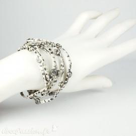 Bracelet Cheny's multi-rangs lien en cuir écru imprimé fauve
