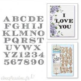 Dies découpe gaufrage alphabet gravé majuscule Shapeabilities Spellbinders