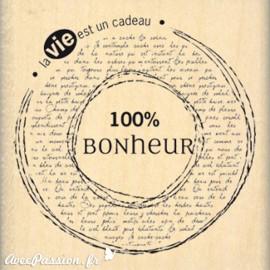 Tampon bois journaling 100% bonheur