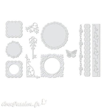 Découpes napperon en papier blanc 12 motifs
