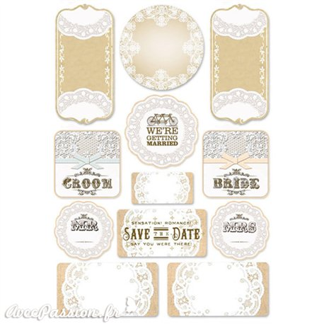Etiquettes décoratives mariage adhésives