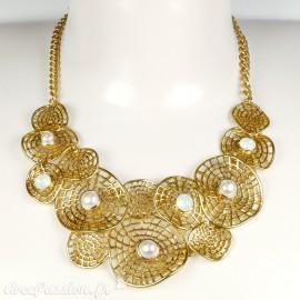 Colliers Cheny's ronds dentelés doré avec perles