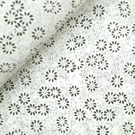 Papier népalais lokta motifs semis fleurs blanc et noir