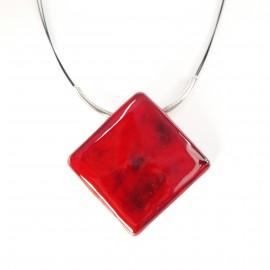 Collier fantaisie créateur Marie Pastorelli carré rouge -