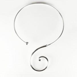 Collier torque créateur Ubu arabesque Argent 1 courbe gauche