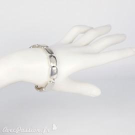 Bracelet fantaisie Ubu argent élastique rectangles