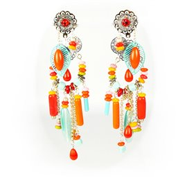 Boucles d'oreilles Patchwork oreilles percées pendantes perles multicolores
