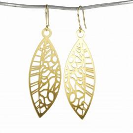 Boucles d'oreilles percées métal RAS doré feuilles