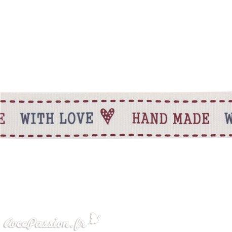 Ruban tissu coton naturel hand made with love