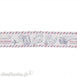 Ruban tissu coton naturel notes de musique 1.6cm x 5m