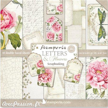 Papier scrapbooking assortiment roses vintage 10f recto verso