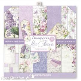 Papier scrapbooking assortiment lilas vintage 10f recto verso