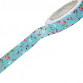 Fabric tape adhésif tissu adhésif bleu fleurs roses