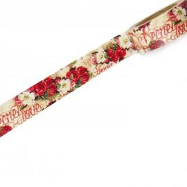 Masking tape shabby chic roses anciennes rouge papier adhésif washi