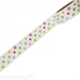 Masking tape naissance fond blanc coeurs et fleurs papier adhésif washi