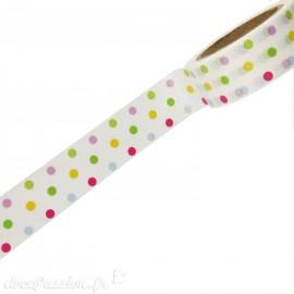 Masking tape fond blanc pois multicolores papier adhésif washi