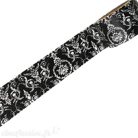 Masking tape dentelle blanc fond noir papier adhésif washi