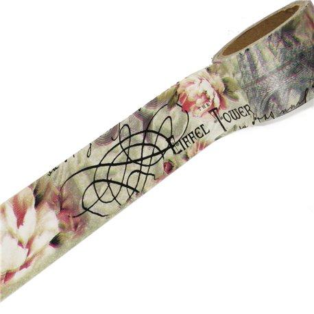 Masking tape vintage tour eiffel roses anciennes ruban papier adhésif