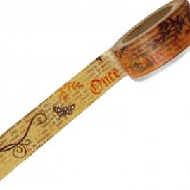 Masking tape vintage sépia écritures ruban papier adhésif washi