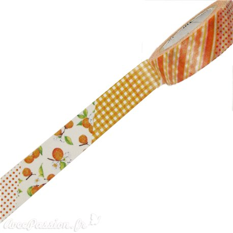 Masking tape fleurs oranges ruban papier adhésif washi