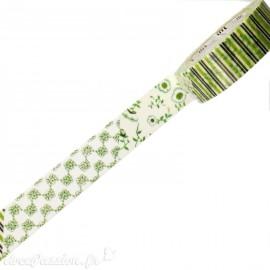 Masking tape fleurs vertes ruban papier adhésif washi
