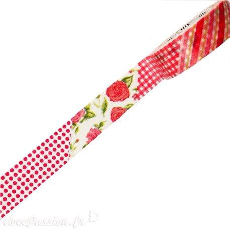 Masking tape fleurs rouges ruban papier adhésif washi
