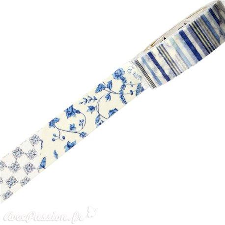 Masking tape fleurs bleues ruban papier adhésif washi